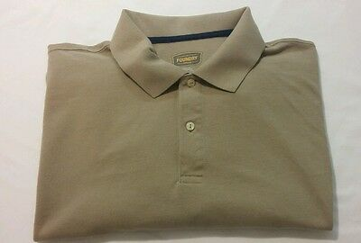 FOUNDRY Mens 100% Cotton Solid Beige Polo Shirt short Sleeves Size 2XL