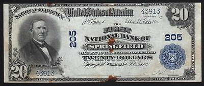 1902 $20 SPRINGFIELD, IL. First National Bank. Illinois Currency
