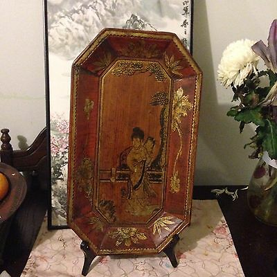 Antique Vintage Wooden Carving Painting