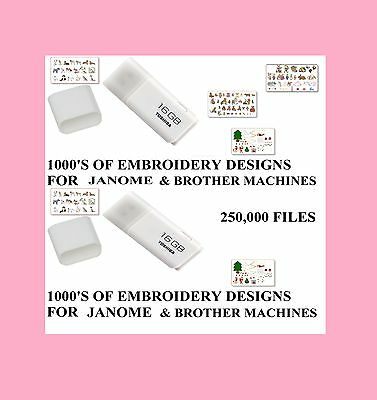 Brother Babylock Janome 16G Usb 250,00 Embroidery Designs Free Gift Em Dec1