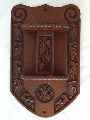 Victorian Carved Oak Wood x12 Smoking Pipe Rack (Collectable)