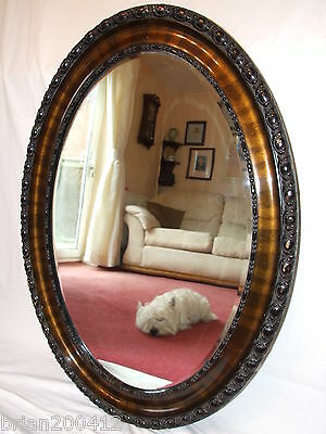 Large Victorian Oak Oval Wood Bevelled Edge & Gesso Distressed Wall Mirror