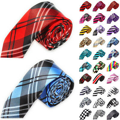 Classic Skinny Men's Slim Striped Party Tie Plain Silk Jacquard Woven Necktie