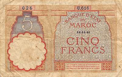 Morocco  5  Francs 14.11.41  Series U  WWII Issue  Circulated Banknote M14J