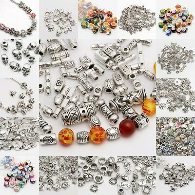 Lots 50/100pcs Silver Plated Loose Spacer Beads Charms Jewelry Making DIY