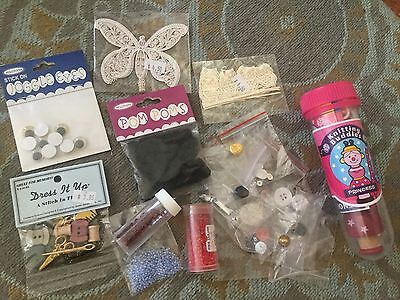 Bulk Craft Supplies Knitting, Buttons, Beads, Paper Die cuts Owls Mostly New