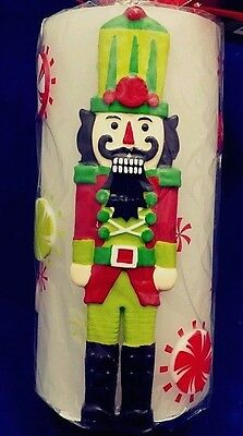 "Pier 1 Imports Flameless LED Nutcracker Paraffin Candle with Timer 6"" X 3"" New"