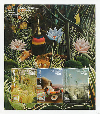 Gambia 2014 MNH World Famous Paintings I 3v M/S Henri Rousseau Dream Stamps