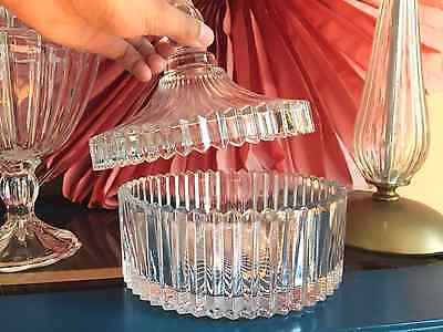 Glass jar 15cm wide: french provincial / art deco apothecary, crystal condition