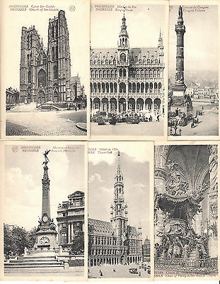 6 Vintage Postcards Of Brussels Non Posted