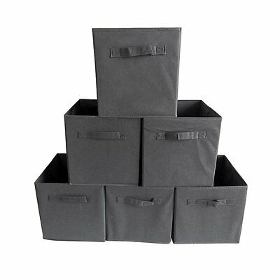 6 x LARGE SQUARE CANVAS FOLDABLE STORAGE BOX COLLAPSIBLE FABRIC CUBES GREY