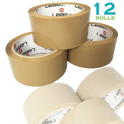 """12 Rolls Labex High Quality 2"""" Brown Packing Parcel Tape 48mmx66m CHEAP BARGAIN"""