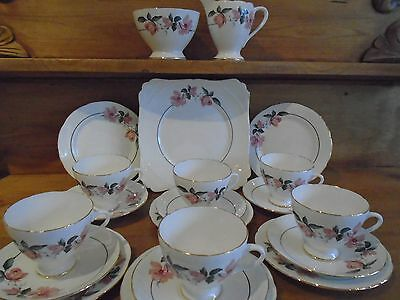 Vintage Pink Flowers 21 Piece Teaset Perfect For A Teapot/cake Stand/wedding
