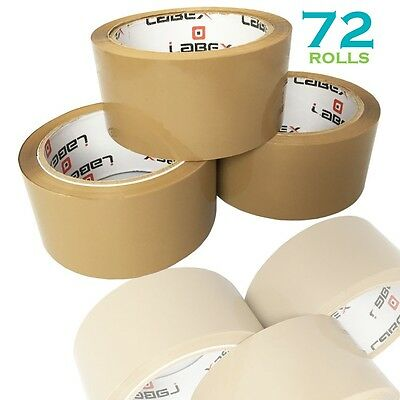 "72 Rolls Labex High Quality 2"" Brown Packing Parcel Tape 48mmx66m CHEAP BARGAIN"