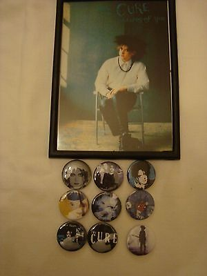 The Cure Lot 9 x  Badges + Framed Photo #1