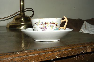 Pretty English Tea Cup and Saucer Possibly Newhall? Early 19thC