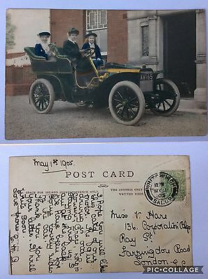 vintage postcard, Whitchurch, wealthy family in vintage car, 1905, Shropshire