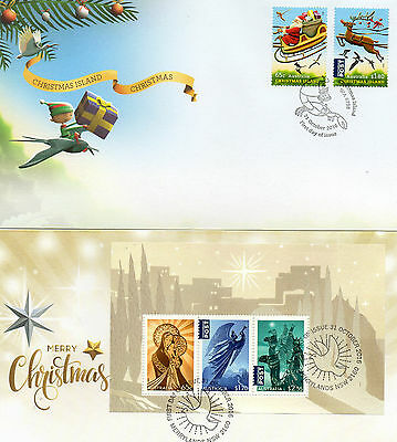 2016 AUSTRALIA lot of 2 different CHRISTMAS FDC covers ( lot 1)