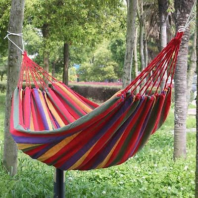 Garden Hammock Lightweight Hang Bed Canvas Outdoor Camping Travel Swing Red
