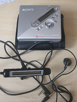 Sony Walkman MD MZ-N710 Personal MiniDisc Player Recorder Remote & Case