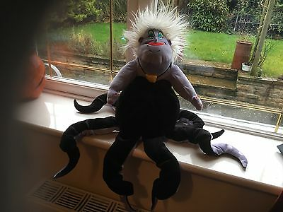 "Rare Htf Official Disney 24"" Ursula The Little Mermaid Soft Toy Plush With Badge"