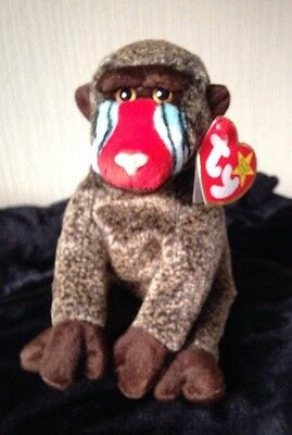 "TY Beanie Baby ""Cheeks"" The Baboon D.O.B 18th May 1999 - Now Retired"