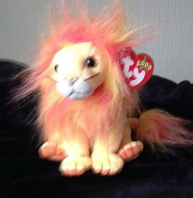 "TY Beanie Baby ""Bushy"" The Lion D.O.B 27th January 2000 - Now Retired"