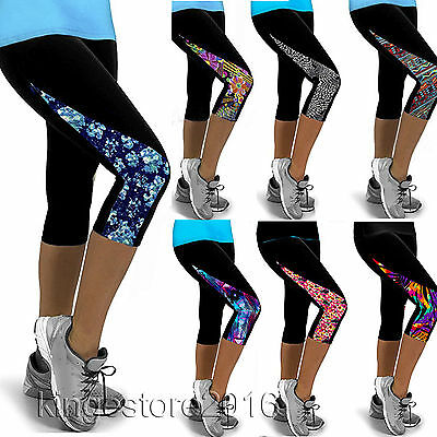 Womens Sports Yoga Fitness Capri Leggings Gym 3/4 Pants Skinny Cropped Trousers