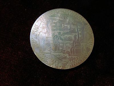 Chinese Mother of Pearl Gaming Token Round.