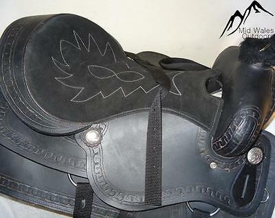 NEW Hand Made Handmade Black Leather Western Saddle with suede seat