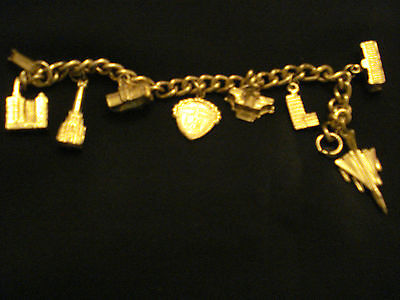 Vintage Child's Gold Tone Charm Bracelet Concord + Other American Themed Charms
