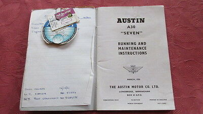 """Austin A30 """"Seven"""" Classic Car Van Owners Manual - dated March 1956"""