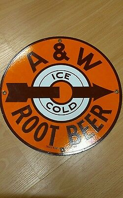 Vintage Antique porcelain advertising sign A & W HTF very nice. no coke or pepsi
