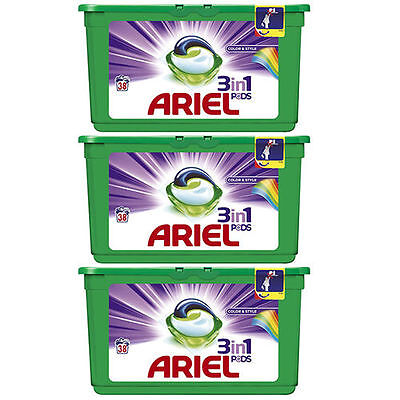NEW Ariel 3 in 1 Colour Professional Washing Tablets Laundry Total 114 Capsules