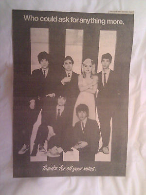 Blondie-Original Full Page Advert Thanking Fans-Sounds Poll-1979