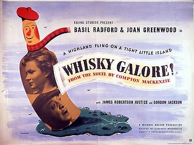 "WHISKY GALORE 1949 16"" x 12"" Reproduction Movie Poster Photograph"