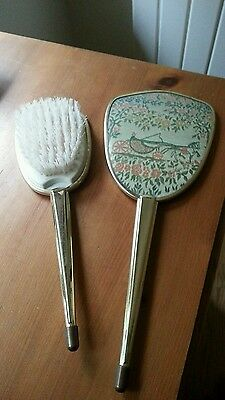Vintage style hand mirror and brush dressing table set embroidered & gold colour