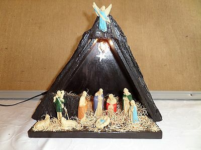 Vintage Nativity Set with Stable AND Light. VERY RARE!!!!