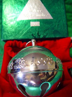 Wallace Silver Plated Christmas Sleigh Bell 1998 Holly and Lanterns w/Box