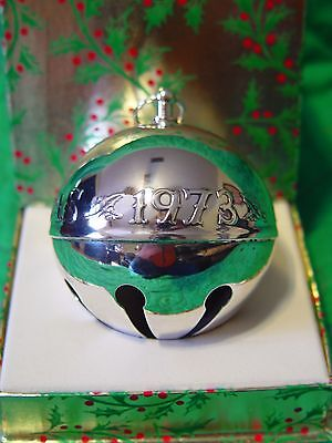 Wallace Silver Plated Sleigh Bell Ball 1973 Merry Christmas w/Box