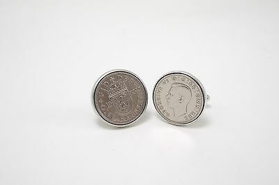 OLD ENGLISH COIN THE SHILLING cufflinks by Ian Flaherty, SUPERB VINTAGE, Wedding