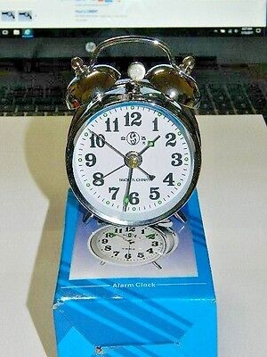 Chrome Silver Old Fashioned Alarm Clock Wind Up No Batteries Required USA Stock
