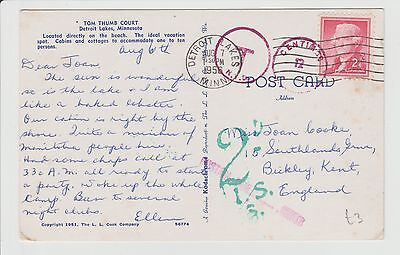 Taxed Tom Thumb Court to UK Postcard