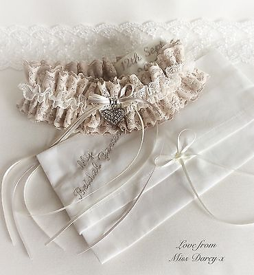 Garter + Bag Bridal Ivory Blush Cream Nude Personalised Wedding Hen Miss Darcy