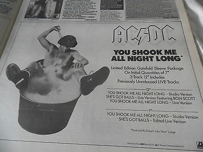 """Ac/dc  """"you Shook Me All Night Long"""" I/2 Page Advert From 1986 Great Condition"""
