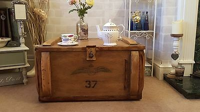 Industrial Vintage Rustic Military RAF Chest Trunk coffee Table TV stands Blanke