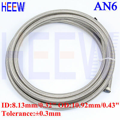 10 M Stainless STEEL Braided  E85 AN6 AN-6 PTFE inner Teflon Oil Line Fuel Hose