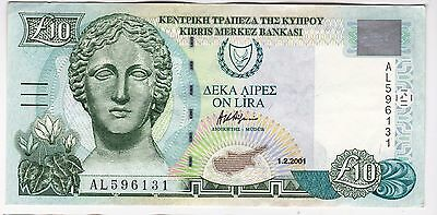 2001 Cyprus £10 Bank Note - Serial Number: Al596131