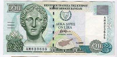 2001 Cyprus £10 Bank Note - Serial Number: Am823685