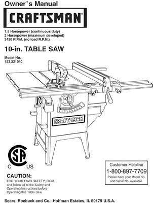 Sears Craftsman Table Saw Owners Manual Many Models Av.